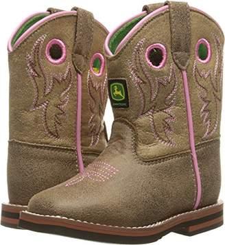 John Deere Kids' Inf Light BRN W/Pink Stitch PO Pull-on Boot