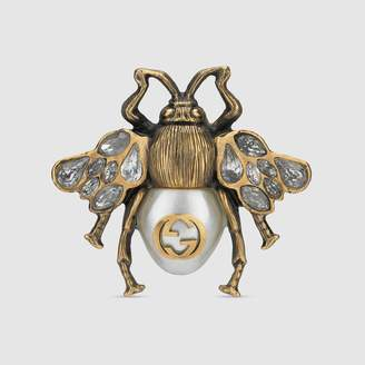 Gucci Bee ring with crystals and pearl