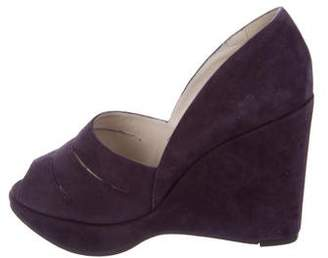 Robert Clergerie Suede Cutout Wedges