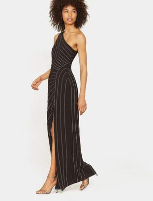 Halston One Shoulder Gown with Chain Piping