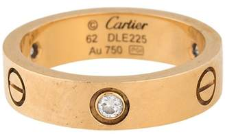 Cartier Love 18K Yellow Gold 3 Diamond Ring Size 10