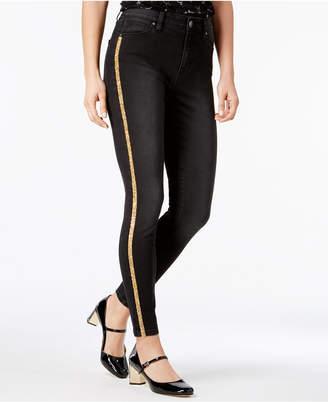 Tinseltown Juniors' Glitter-Stripe Skinny Jeans