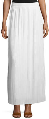 Joan Vass Plus Size Long Pleated Skirt, White