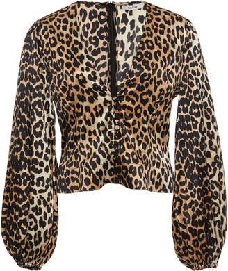 18f32132 Ganni Leopard-Print Silk-Blend Satin Top