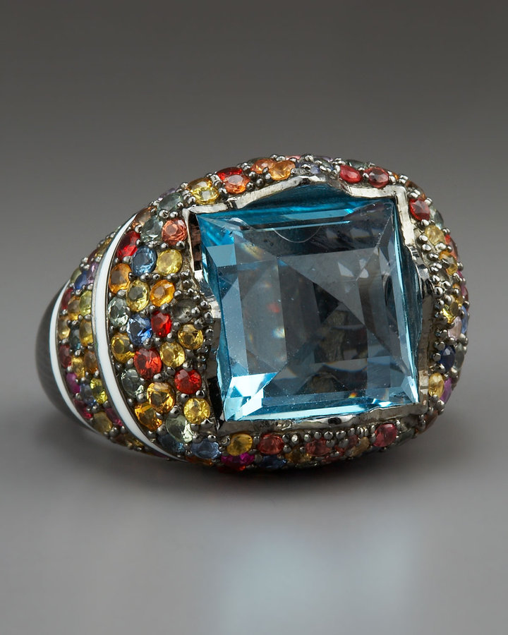MCL by Matthew Campbell Laurenza Blue Topaz & Pave Sapphire Ring