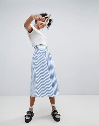 Monki blue and white stripe midi skirt