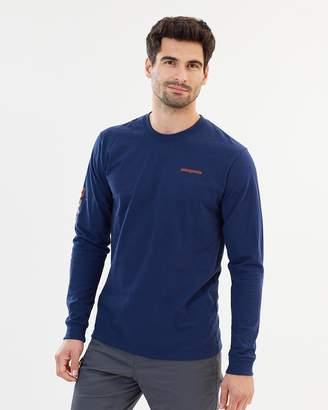 Patagonia Men's Long Sleeve Text Logo Cotton/Poly Responsibili-Tee