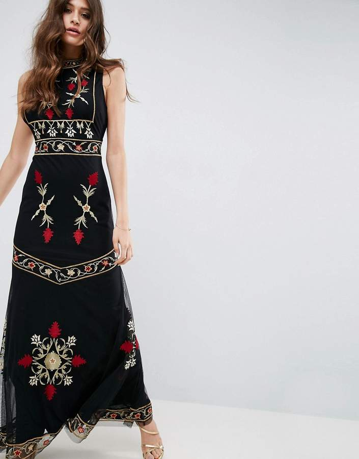 Asos ASOS High Neck Embroidered Cut Out Back Maxi Dress
