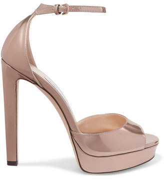 Jimmy Choo Pattie 130 Metallic Leather Platform Sandals - Gold