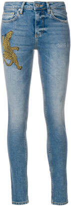 Zoe Karssen embroidered cheetah skinny jeans