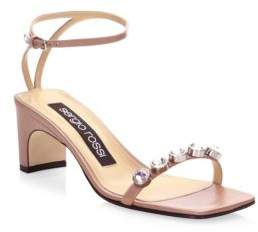 Sergio Rossi Embellished Leather Ankle-Strap Sandals