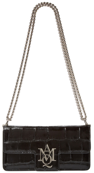 Alexander McQueen Insignia Small Croc Embossed Leather Shoulder Bag