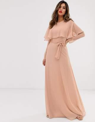 Asos Design DESIGN long sleeve cape back maxi dress with tie waist