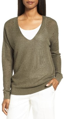 Women's Nordstrom Collection V-Neck Linen Blend Sweater $199 thestylecure.com