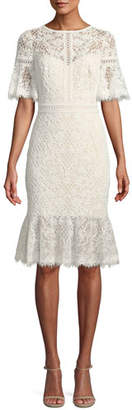 Tadashi Shoji Lace-Sleeve Ruffle-Hem Dress