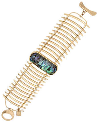 Robert Lee Morris SOHO Golden Abalone Hammered Sculptural Ladder Bracelet