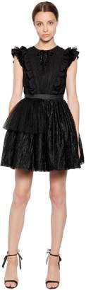 MSGM P.m. Tulle And Lace Mini Dress