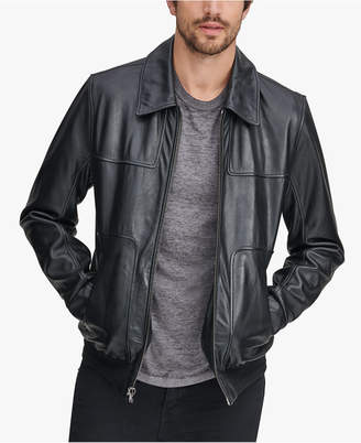 Andrew Marc Men's Shirt Collar Leather Jacket