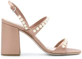 Miu Miu pearl-embellished block heel sandals