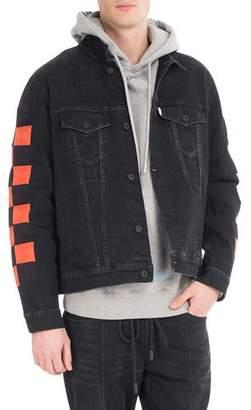 Off-White Checker Oversized Denim Jacket $1,175 thestylecure.com