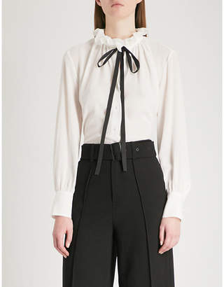 Mo&Co. Ruffled neck-tie silk-crepe shirt