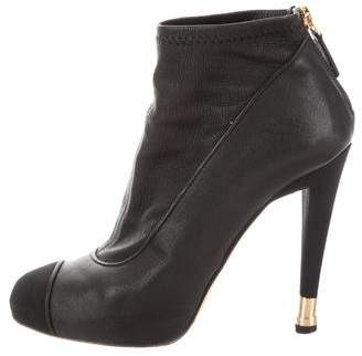Chanel Leather Cap-Toe Booties