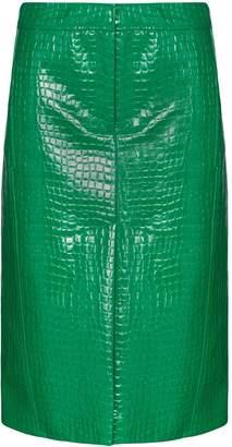 Tibi high waist crocodile-effect skirt