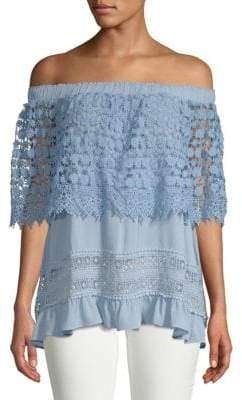 Lumie Lace-Trimmed Off-The-Shoulder Top