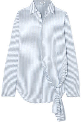 Loewe Asymmetric Striped Silk Shirt - Blue