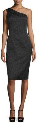 Michael Kors One-Shoulder Embossed Sheath Dress, Black