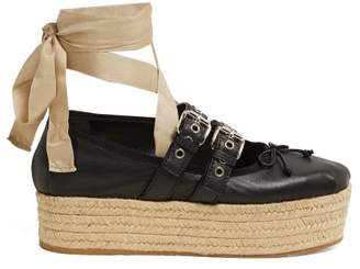 Miu Miu Buckle Fastening Leather Ballerina Espadrilles - Womens - Black