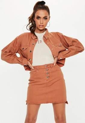 Missguided Exposed Button Step Hem Denim Micro Mini Skirt