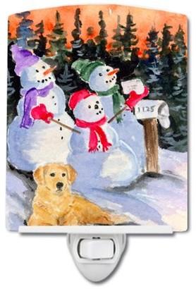 Golden Retriever Caroline's Treasures Snowman with Ceramic Night Light