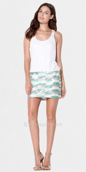 Laundry by Shelli Segal Warm White Tank Sequin Skirt Dresses from
