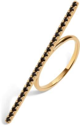 Aurate Diamond Bar Ring With Black Diamonds