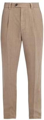 Brunello Cucinelli - Slim Leg Linen Trousers - Mens - Beige