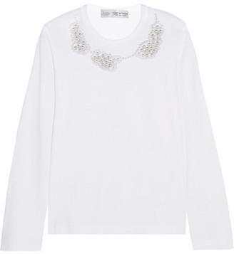 Comme des Garçons Comme des Garçons - Jupe By Jackie Faux Pearl-embellished Cotton-jersey Top - White $325 thestylecure.com