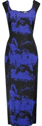 Osman Eve Printed Wool-Blend Felt Midi Dress