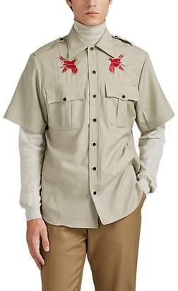 Lanvin Men's Bird-Embroidered Virgin Wool Plain-Weave Military Shirt