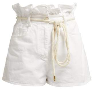 Valentino Paperbag Waist Denim Shorts - Womens - White