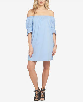 1.STATE Pinstripe Off-The-Shoulder Dress $119 thestylecure.com