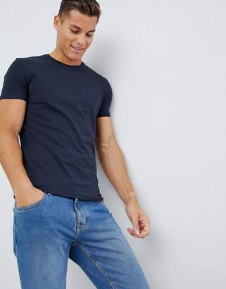 Celio Crew Neck Muscle Fit T-Shirt In Navy