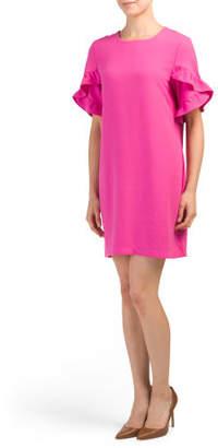 Tulip Ruffle Sleeve Shift Dress