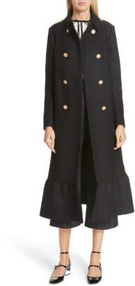 RED Valentino Ruffle Hem Double Breasted Wool Blend Coat