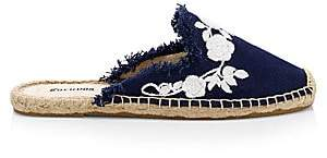 Soludos Women's Canvas Frayed Floral Espadrille Mules