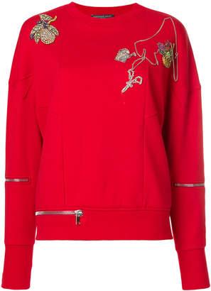 Alexander McQueen embroidered and zipped sweatshirt