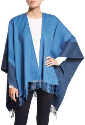 Neiman Marcus Two-Tone Wool Ruana Shawl, Niagara Blue/Black