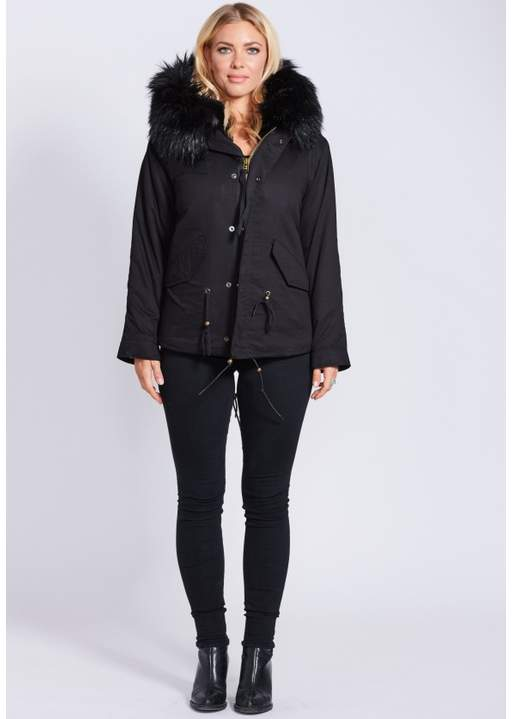 Popski London Fabulous Faux Black Parka Jacket With Faux Fur Collar Black