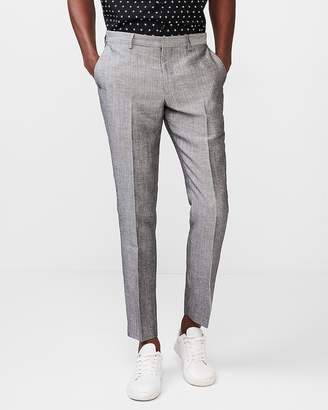 Express Extra Slim Gray Linen-Wool Dress Pant