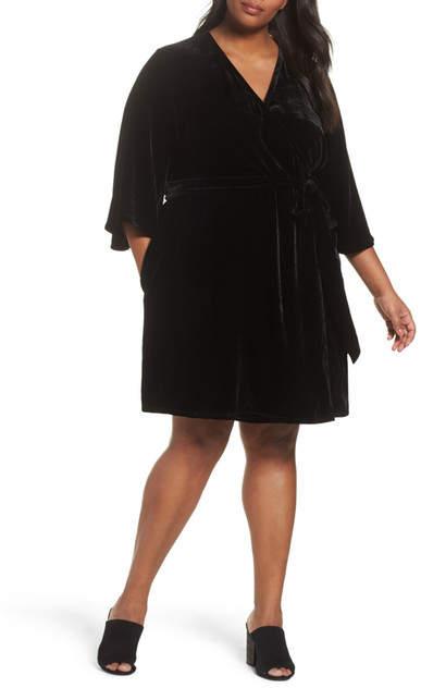 Velvet Wrap Dress (Plus Size)